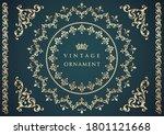 vintage ornament set. flourish... | Shutterstock .eps vector #1801121668