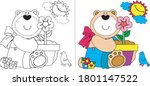 cute bear coloring vector...