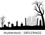 halloween scary graveyard... | Shutterstock .eps vector #1801196632