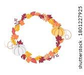 pumpkin wreath decorative... | Shutterstock .eps vector #1801227925