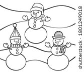 vector coloring page with three ... | Shutterstock .eps vector #1801249018