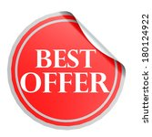 best offer red circle label | Shutterstock . vector #180124922