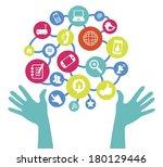 technology supplies signs flat... | Shutterstock .eps vector #180129446