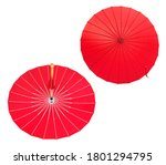 Chinese Red Umbrella With Silk...