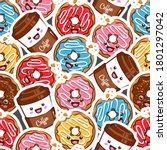 seamless pattern colorful donut ... | Shutterstock .eps vector #1801297042