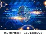 wired brain illustration   next ... | Shutterstock .eps vector #1801308028