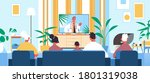 family watching online video... | Shutterstock .eps vector #1801319038