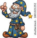 cartoon wizard holding a finger ... | Shutterstock .eps vector #1801321252