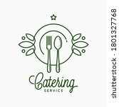 catering linear logo with plate ... | Shutterstock .eps vector #1801327768
