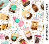 bubble tea seamless pattern.... | Shutterstock .eps vector #1801345435