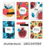 shana tova. set of blessing... | Shutterstock .eps vector #1801345585