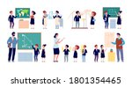 lesson with teacher. children... | Shutterstock .eps vector #1801354465