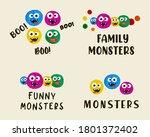 cartoon cute monsters set ... | Shutterstock .eps vector #1801372402