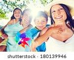 parents giving their kids a... | Shutterstock . vector #180139946