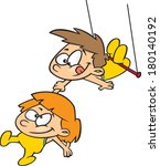 cartoon kids on a flying trapeze   Shutterstock .eps vector #180140192
