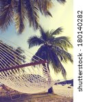 Hammock Between Palm Trees On A ...