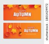 happy autumn fall paper art...   Shutterstock .eps vector #1801429972