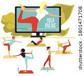 online yoga class poster  ... | Shutterstock .eps vector #1801471708