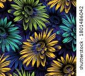 seamless vector sunflower... | Shutterstock .eps vector #1801486042