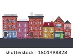 cartoon old brick houses of...   Shutterstock .eps vector #1801498828
