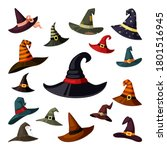 witch hats colored set. wizard... | Shutterstock .eps vector #1801516945