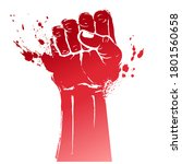 hand raised air fighting for... | Shutterstock .eps vector #1801560658