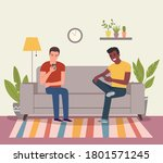 young men are sitting on the...   Shutterstock .eps vector #1801571245