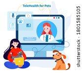 vet examining pets online.... | Shutterstock .eps vector #1801585105