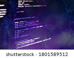 Small photo of CSS, JavaScript and HTML usage. Monitor closeup of function source code. Abstract IT technology background. Software source code.
