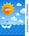 marine background for summer... | Shutterstock .eps vector #180164852