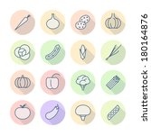 thin line icons for vegetables. ... | Shutterstock . vector #180164876