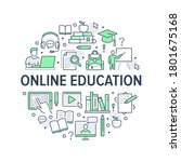 online education poster with... | Shutterstock .eps vector #1801675168