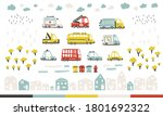 baby city cars set with cute... | Shutterstock .eps vector #1801692322