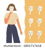 young woman holding mask on her ... | Shutterstock .eps vector #1801717618