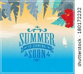 vintage summer poster with... | Shutterstock .eps vector #180172232