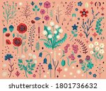 wild flowers with seeds  buds ... | Shutterstock .eps vector #1801736632