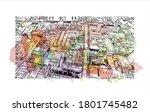 building view with landmark of... | Shutterstock .eps vector #1801745482