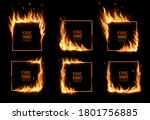 Square Frames In Fire  Vector...