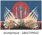 space conquering propaganda... | Shutterstock .eps vector #1801759012