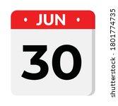 30 june calendar icon  vector... | Shutterstock .eps vector #1801774735