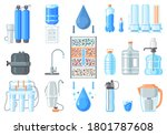water containers and filters... | Shutterstock .eps vector #1801787608