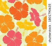 hibiscus pattern multicolored...   Shutterstock .eps vector #1801790635