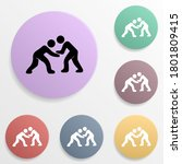 wrestling badge color set icon. ...