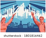 industrial silhouette... | Shutterstock .eps vector #1801816462