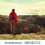 hike in Norway mountains - stock photo