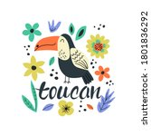 Hand Drawn Colorful Toucan With ...