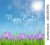 Happy Easter Card With Crocuse...