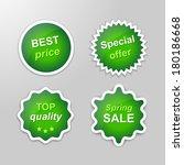 set of glowing vector stickers... | Shutterstock .eps vector #180186668