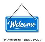 welcome   hanging door sign... | Shutterstock .eps vector #1801919278