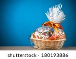 gift basket against blue... | Shutterstock . vector #180193886